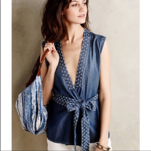 Anthropologie Tops - Chambray Wrap Top✨